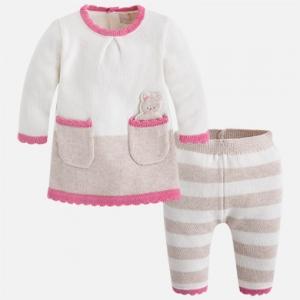 Completo bambina con maglioncino e pantalone in tricot invernale collezione 2017/18