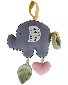 Gioco Multisensoriale Elefantino - Vibra tirando la Cordicella! Cotone Bio Tikiri