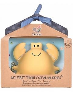 3-in-1 Sonaglio, Massaggiagengive, Gioco da Bagno, Delfino, Ocean Buddies, Confezione Regalo - 100% Caucciù Naturale Tikiri